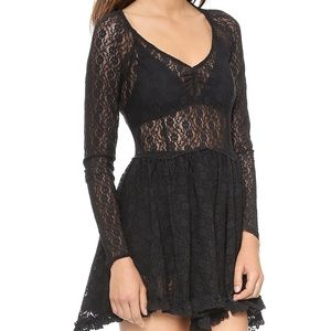 Free People Witchy Skater Lace Black Mini Dress